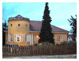 The Villa at dusk.