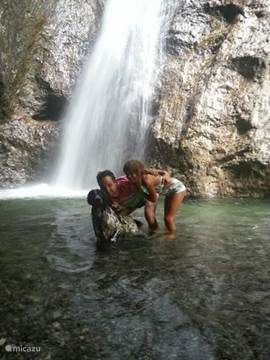 "take a trip with the whole family to a beautiful waterfall in the middle of a pristine valley in the ""natural park dolomiti"". Great fun for young and old!"