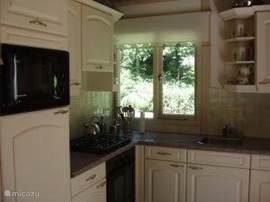 knusse keuken met magnetron, oven en vaatwasser
