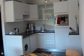 Luxe keuken met vaatwasser, magnetronoven, wasmachine enz