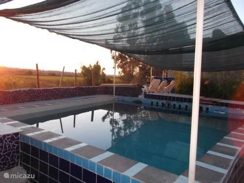 Het zwembad in het avondlicht.