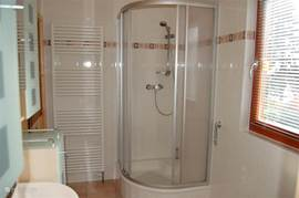 There is in the bathroom with a shower, sink, radiator, ample storage and a washing machine