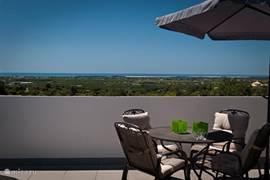 Penthouse appartement: groot prive terras met prachtig wijds uitzicht over het land naar de zee.