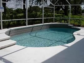 Verwarmd zwembad met een screen, zodat je ook 's avonds heerlijk kunt zwemmen. Zwembad wordt verwarmd met zonne-energie.