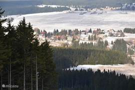Look at some of the village Abertamy from the ski slopes in Plesivec