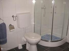 de badkamer met douche, toilet, wastafel en een opbergkastkast