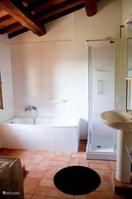 grote badkamer met bad, toilet, bidet, aparte douche, wastafel en wasmachine. In de 2e badkamer: aparte douche, toilet en wastafel. (2xclick:groter)
