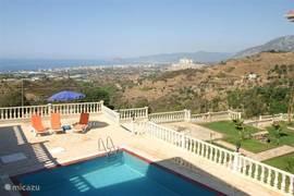 Het zwembad ligt tussen de 2 appartementen villa's in.