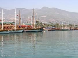 Dit is de haven van Alanya, vanuit hier kunt u verschillende boottrips maken.