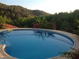 Het privé zwembad met fantastisch uitzicht over de bergen.