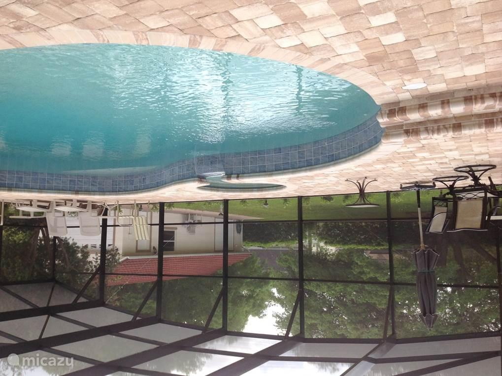 Privézwembad (2 meter op het diepste punt; ruim 88.000 liter water gratis verwarmd voor u op 28 graden Celsius (mits de buitentemperatuur niet onder de 10C komt) en jacuzzi. Op de achtergrond ziet u onze extra garage.