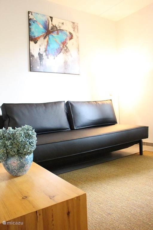 Tweede zit/lees kamer met moderne bank die in een handomdraai omgetoverd kan worden in een comfortabel 140 cm brede slaapbank met pocketvering matras!