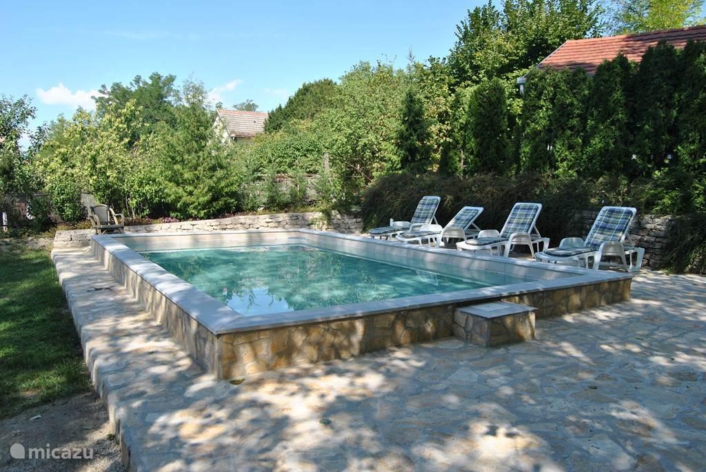 Zwembad met terras in de schaduw