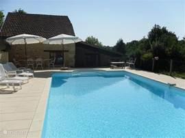 Bij het ruime zwembad van 5x11 m met een zonneterras van 200m2 omzoomd door heerlijk geurende bloemen en struiken is het goed toeven