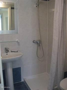 Kleine badkamer naast slaapkamer 2 met toilet en douche