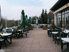 Een restaurant met terras bevindt zich op het park