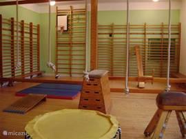 Uniek is de originele gymzaal. Wat is er nu leuker dan met z'n allen apenkooien?