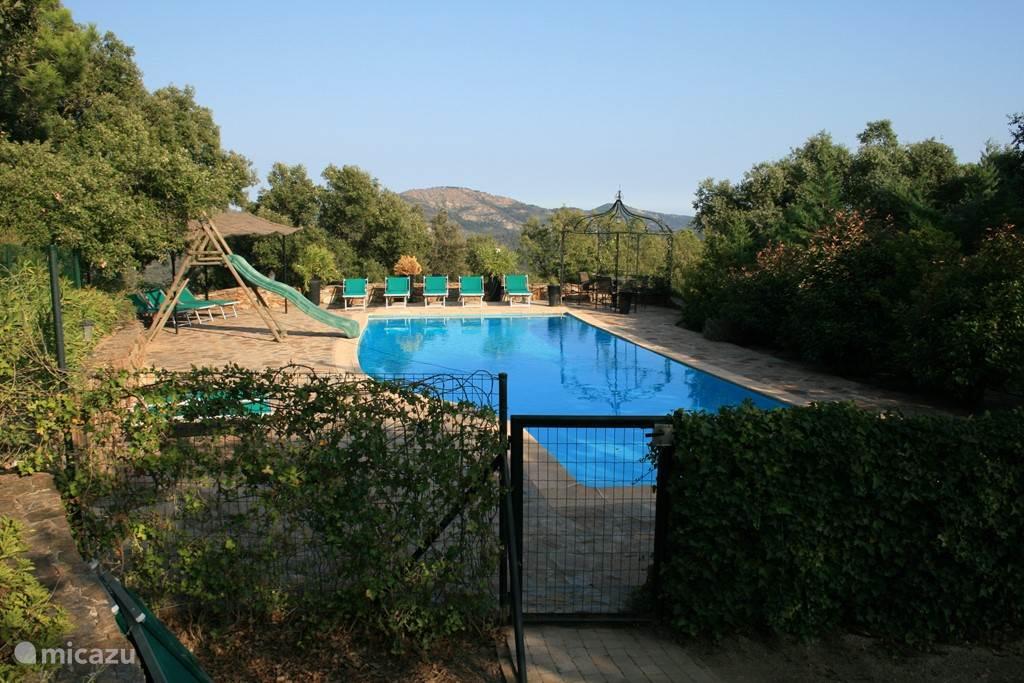 Zwembad 15 - 5 meter vrije vorm. Diepte aflopend van 0.50 - 2.50. Glijbaan voor kinderen.