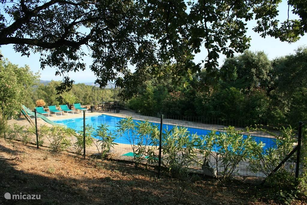 Zittend onder het prieel bij het zwembad heeft u ook uitzicht over de baai van St Tropez.