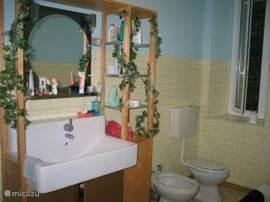 Badkamer. Met bad met douchemogelijkheid. Verder bevindt zich hier de wasmachine.