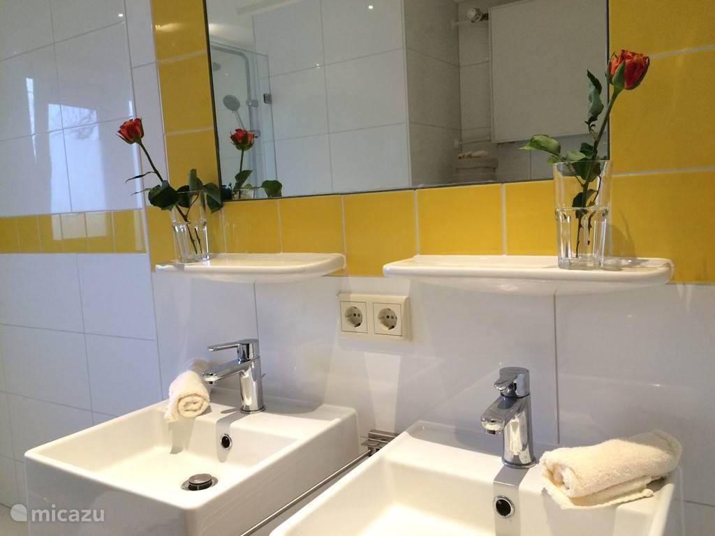 Moderen badkamer met douche, toilet en wastafel. Tevens wasmaschine en droogtrommel. Elders zijn nóg twee wastafels.