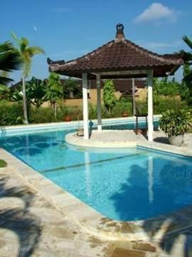 Dit is het zwembad van de andere kant bezien, met het ondiepe kindergedeelte.