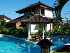 Hier ziet u de ligging van het zwembad t.o.v de villa