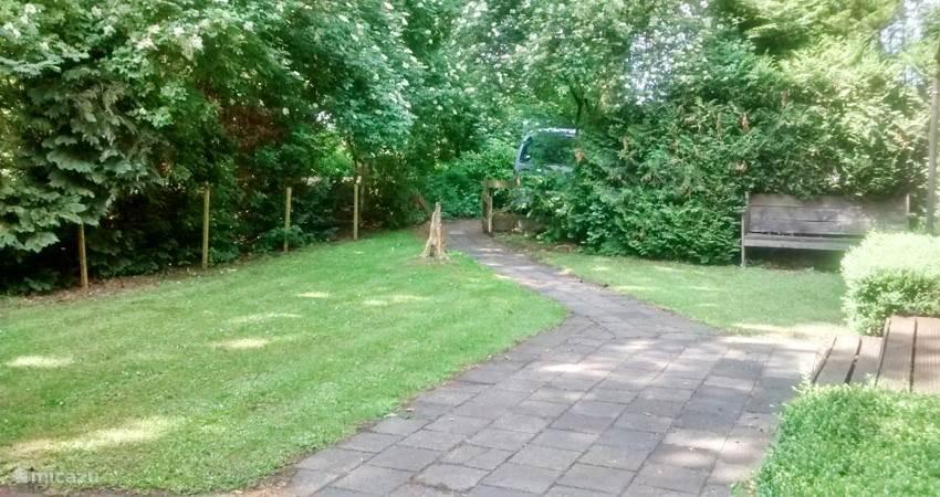 De tuin van BosBungalow 1 en de parkeerplaats