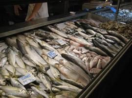 Verse vis kopen op de dagelijkse vervismarkt in Fethiye. Meteen daar opeten kan ook bij één van de restaurantjes.