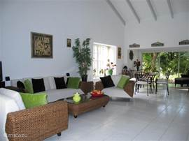 The spacious living room of the villa