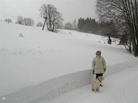 Wandeling naar ons huis langs de babylift op ski piste.