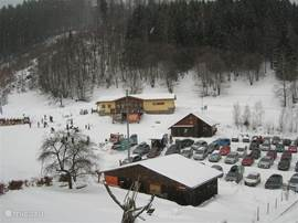 The parking lot down the mountain, which lies Wladimir villa, one of the tows.