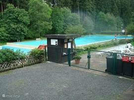 heated pool in the woods across the road (300 m.)