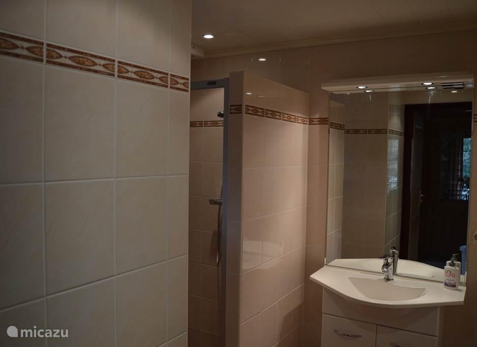 badkamer met douchecabine en wastafel met spiegel. automatische ventilatie