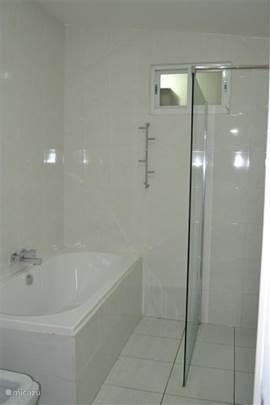 Een complete badkamer (ligbad, inloopdouche, zwevend badkamermeubel en wandtoilet).