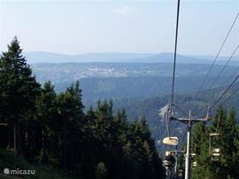 in the summer you can use the chairlift here you have a beautiful view over the woods