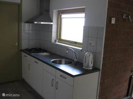Vierpits gasstel met afzuigkap  en vaatwasmachine