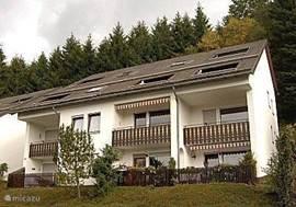 Ruim appartement 4/5 personen in Niedersfeld (Winterberg) vlak bij skigebieden. Het appartement is op de 2de verdieping: grote woonkamer, 2 slaapkamers, een keukenblok, badkamer, televisie, dvd speler en een balkon met een prachtig uitzicht over het dal.