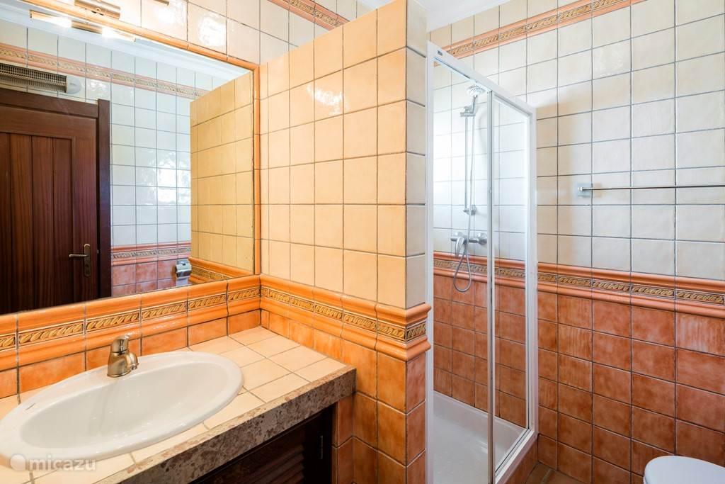 De badkamer op de gang.