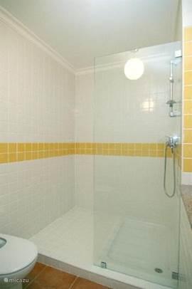 Badkamer met dubbele wastafel, toilet en inloopdouche