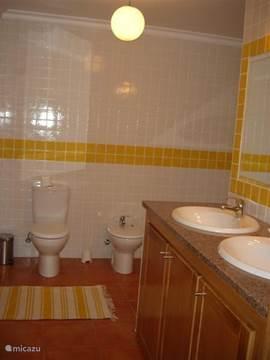 Dubbele wastafel en bij de woonkamer ook nog een aparte toilet
