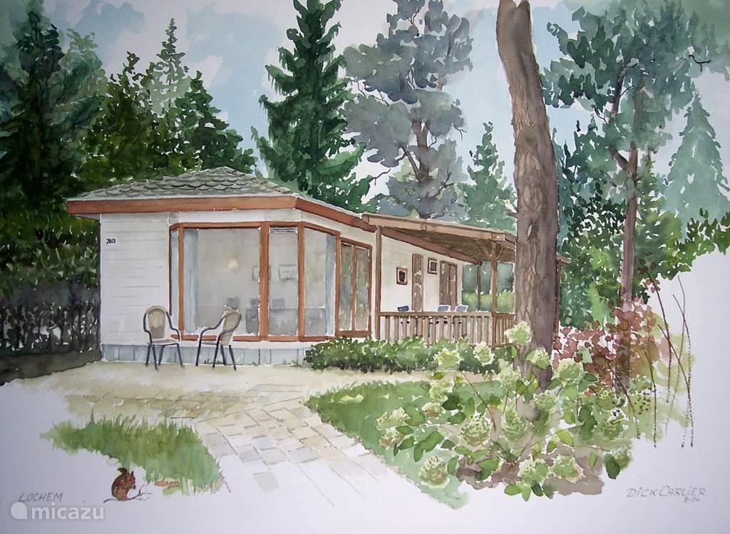 De schilder Dick Carlier heeft tijdens zijn vakantie een prachtige Aquarel gemaakt van onze bungalow!