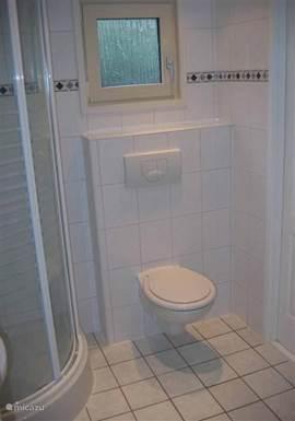 De badkamer is voorzien van een douchecabine, luxe badmeubel met wastafel, toilet en designverwarming.