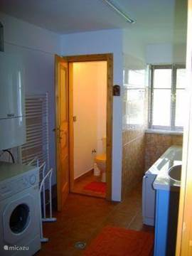 bathroom with separate toilet and washing machine