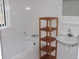 Badkamer beneden,met ligbad,douche en wastafel.