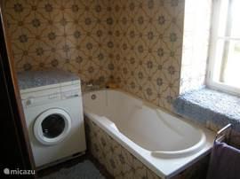 badkamer met ligbad, douche, wasmachine en wastafel