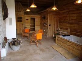 Sauna en bubbelbad naast gezellige open haard
