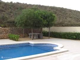 Zwembad met zithoekje onder de bomen