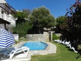 Privé tuin met privé zwembad, met zicht op zonneterras met privé schommelbank.