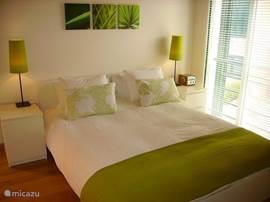 Ruime tweepersoons slaapkamer met entree naar dakterras. Deze slaapkamer heeft een badkamer-ensuite en televisie met DVD